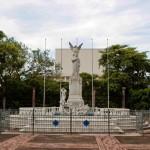 Fuente en mármol tallado, en honor al poeta nicaragüense Rubén Darío,